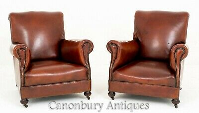 Pair Victorian Club Chairs Leather Armchairs Sofa