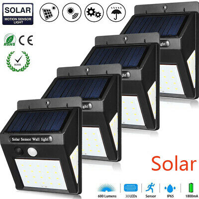 4 PCS 30LED Solar Power Light PIR Motion Sensor Garden Security Yard Path Lamp
