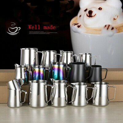 UK Stainless Steel Milk Frothing Mug Cup Coffee Latte Pitcher Barista Craft Jug