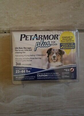 PetArmor Plus for DOGS 3 Count FLEA and TICK Squeeze-On, 23-44 lbs. BRAND NEW