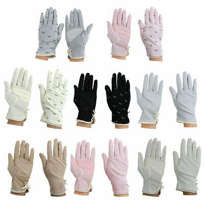 Women Summer Motorcycle Riding Dot Pattern Sun Resistant Gloves Protector