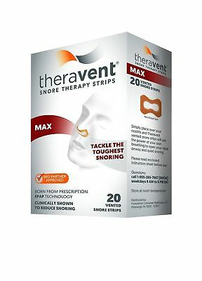 New Theravent Snore Therapy Strips (MAX) 20 Vented Snore Strips - 05/2020