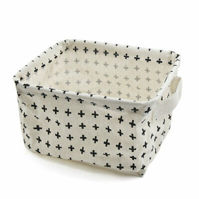6ab043573e61 MINI LINEN COTTON Storage Basket Woven Basket Collapsible (Blue ...