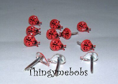 12 Mini Ladybird/Ladybug Brads - Card Making/Scrap Booking/Crafts - Insects