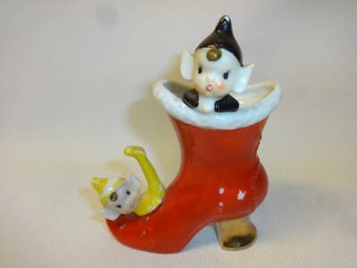 Vintage Hand Painted Betson's Pixie Elf Elves Figures In A Shoe Boot