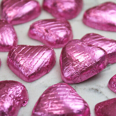 PINK Foil Wrapped Milk Chocolate Hearts Table Favours Weddings Party Sweets