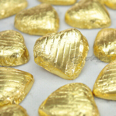 GOLD Foil Wrapped Milk Chocolate Hearts Table Favours Weddings Party Sweets