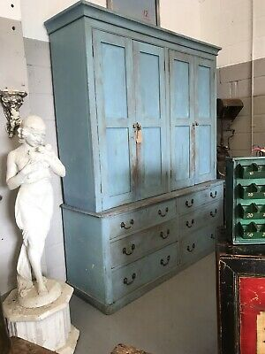 Antique Victorian Painted Pine Kitchen Housekeepers Livery Press Food Cupboard
