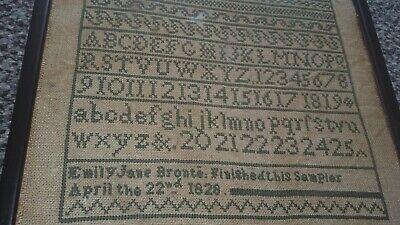 cotton,linen sampler dated 22nd april 1828. famous author emily jane bronte