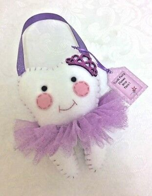 Tooth Fairy pillow- Purple Glitter crown design- Pocket on back 4 lost tooth