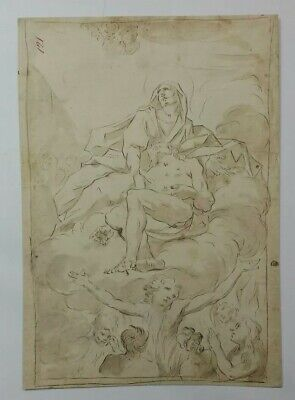 Superb 18th.Century Old Master Religious Watercolour Drawing Italian 1700s Prov.