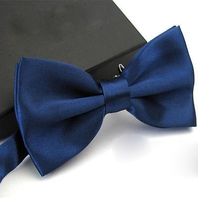 Light Navy Blue Bow Ties Men Bowtie Tuxedo Classic Solid Prom Party Accessories