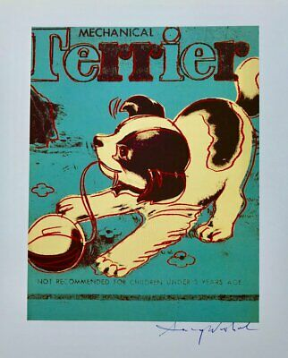 """Andy Warhol, """"Mechanical Terrier"""" Hand signed Print, 1986 with COA"""