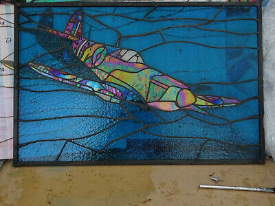 Stained glass Spitfire panel