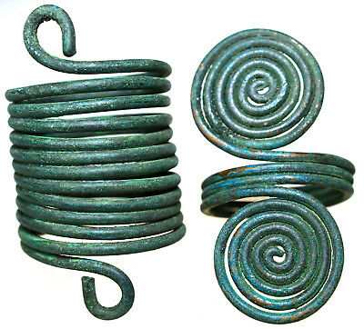 Lot of two Roman Bronze Spiral Rings