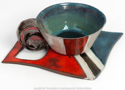 Unusual CUP & SAUCER Art Pottery Flat Blue Red Hand Formed Terracotta Unknown