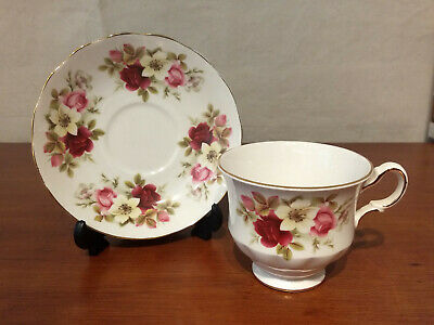 QUEEN ANNE Bone China FLORAL BOUQUET Roses Garden Flowers England CUP SAUCER set