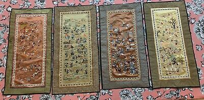 "4 Antique Chinese Hand Embroidery  Wall Hanging Scenery Panel 14"" By 25"""