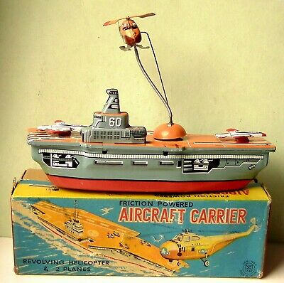 Japan Yanoman  ★★★ Tin Friction Aircraft Carrier Revolving Helicopter W/box ★★★