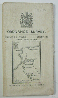 1911 Old OS Ordnance Survey One-Inch 3rd Edition Map 119 Barnstaple Large Sheet