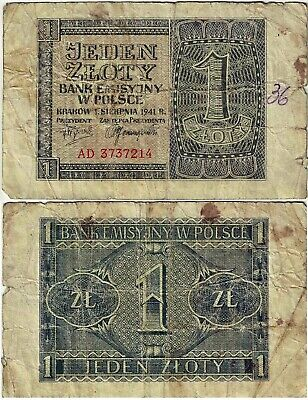 + Polen Banknote 1 Zloty 1941 EMISSION BANK IN POLAND Ro.579a P-99 SEHR SELTEN