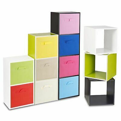 9 Shelf Cubed Wooden Bookcase Storage Units Shelves With 9 Drawer Insert Baskets