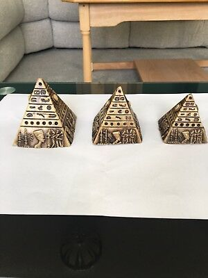Set of Stone/Marble Egyptian Pyramids with Hieroglyphics - Collection Only