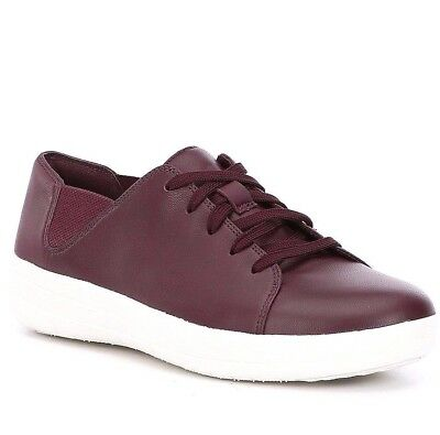 938f6eeb3 FITFLOP women s F- SPORTY LEATHER SNEAKERS Lace Up Casual Shoes Deep Plum  size 8