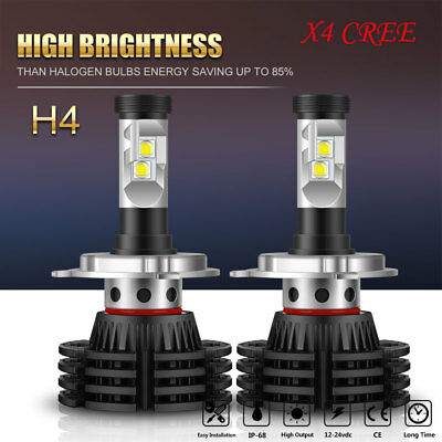 2x CREE LED Headlight Conversion Bulb Kit H4 HB2 255000LM White High Power 6000K