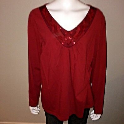 2f5e805c20c3e St Johns Bay Knit Top Plus Size 1X Womens Red V Neck Long Sleeve Tee Blouse