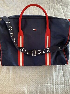 1f85ae8e4e Vintage 90 s FLAW Tommy Hilfiger Spell Out Flag Logo Large Gym Duffle Bag