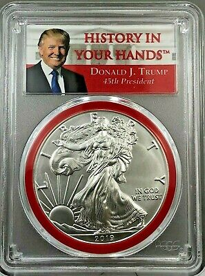 2019 American Silver Eagle PCGS MS70 Trump Label with RED GASKET---FIRST STRIKE