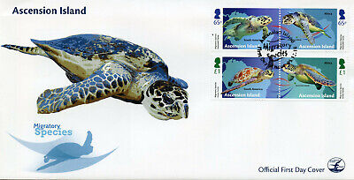 Ascension Island 2018 FDC Migratory Species Turtles 4v Set Cover Reptiles Stamps