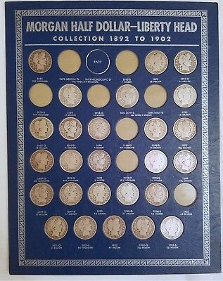 Barber/Morgan Silver Half Dollars 1892 - 1915: 65 coins in 1938 Whitman boards