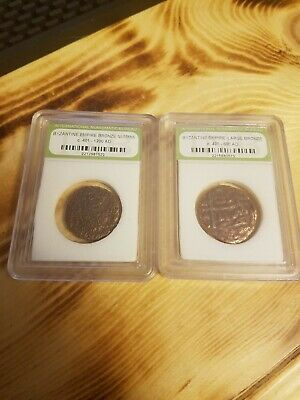 Ancient Byzantine Empire Bronze Coin Lot (2) 491Ad-600 1200 Nummis Authenticated