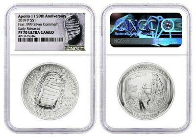 2019 P $1 Proof Silver Apollo 11 50th Anniversary NGC PF70 UCAM Early Releases
