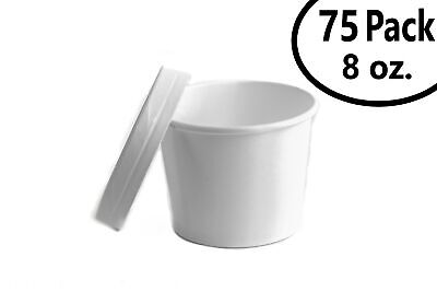 75 Set 8 oz. Poly Coated White Paper Disposable Soup Containers with Vented Lids