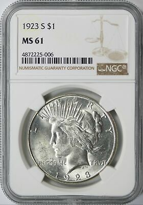 1923-S Peace Silver Dollar $1 NGC MS61