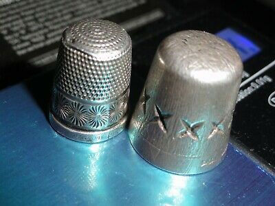 A Pair of Vintage Sterling Silver Thimbles  Hallmarked
