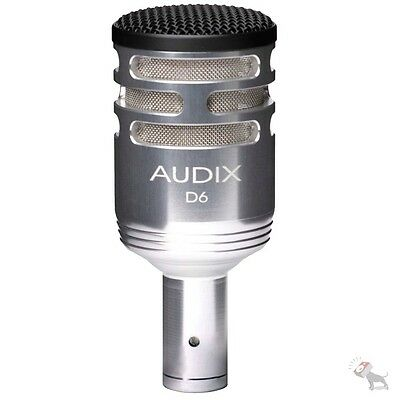 Audix D6S Kick Bass Drum Cardioid Recoridng Studio Microphone Mic Silver USED