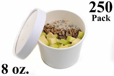 250 8 oz. Poly Coated White Paper Disposable Soup Containers with Vented Lids