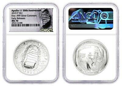2019 P $1 Silver Apollo 11 50th Anniversary NGC MS70 Early Releases