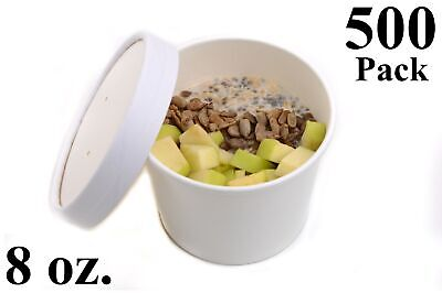 500 8 oz. Poly Coated White Paper Disposable Soup Containers with Vented Lids
