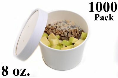 1000 8 oz. Poly Coated White Paper Disposable Soup Containers with Vented Lids