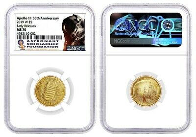 2019 W $5 Gold Apollo 11 50th Anniversary NGC MS70 Early Releases