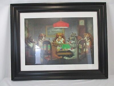 """""""A Friend in Need"""" Framed Print by C M Coolidge 22 1/2"""" x 29"""" Dogs Playing Cards"""