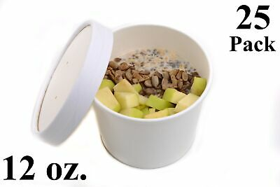 25 12 oz. Poly Coated White Paper Disposable Soup Containers with Vented Lids