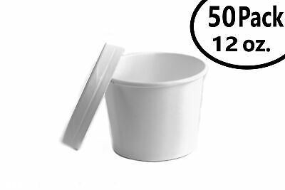 50 12 oz. Poly Coated White Paper Disposable Soup Containers with Vented Lids