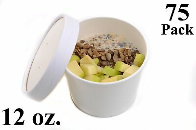 75 12 oz. Poly Coated White Paper Disposable Soup Containers with Vented Lids