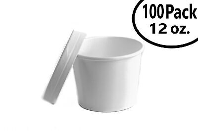 100 12 oz. Poly Coated White Paper Disposable Soup Containers with Vented Lids
